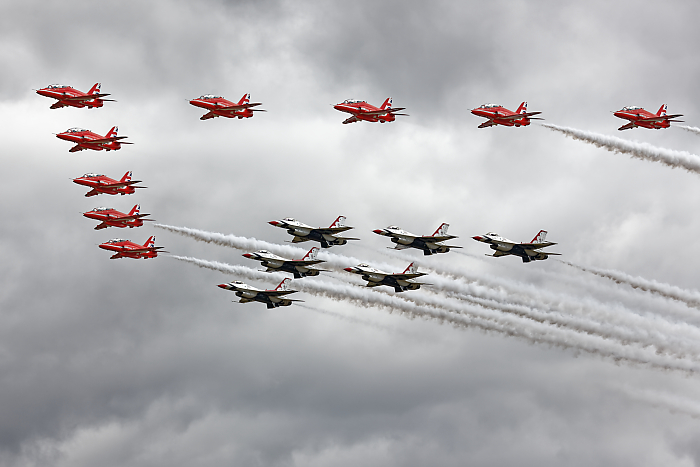 The Red Arrows with the Thunderbirds