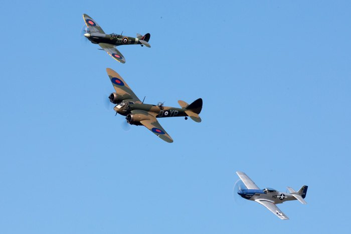 Blenheim, Spitfire and Mustang at Revival 2016
