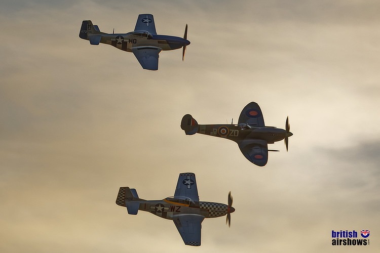 Warbird trio flying at dusk at Revival 2019