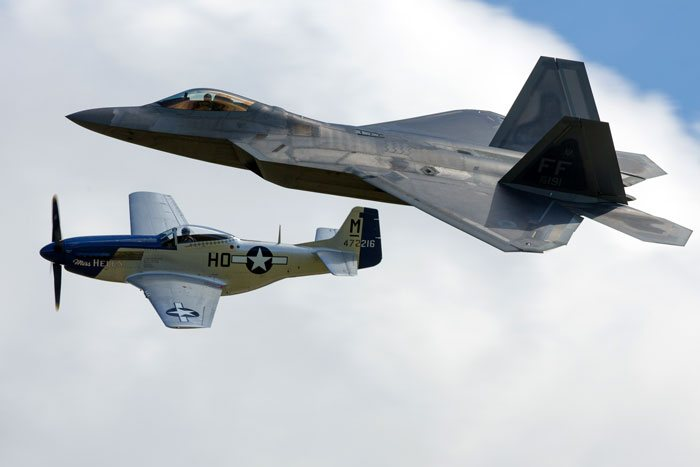 Heritage Flight F-22 Raptor & P-51 Mustang at Flying Legends 2016