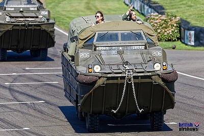 Amphibian leading the military parade at Goodwood Revival 2019