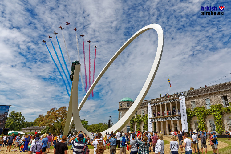 Red Arrows arrive at the Festival of Speed 2019